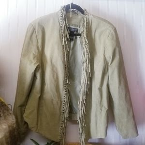 DIALOGUE Green Leather Fringe Jacket Size Large